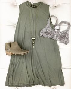 "[OOTD] Olive high-neck sleeveless dress with lace bralette & the ""Snare"" booties by @seychellesshoes! Comment your email & size to purchase any of these items!! #shopbellabella #weship #paytopull..."