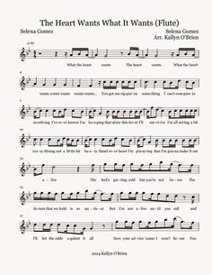 Flute Sheet Music: The Heart Wants What It Wants - Sheet Music