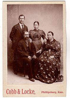 Antique 1890's Family Photo Phillipsburg Kansas Woman in Floral Dress with Brooch Man with Mustache Cobb & LockePhotograph