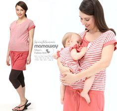 Color Bar Splice Long Version Maternity and Breastfeeding Dress Nomor produk:1317 #Maternitywear #Breastfeedingwear #Nursingwear