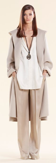 Gucci ▶ Shop the Look - Soft Wool Hooded Coat - Pearl White Silk Oversize Shirt - Ivory Silk Pants ...