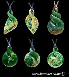 A collection of small New Zealand Flower Jade twist pendants (Pikorua) by featured artist and master carver Ross Crump. www.boneart.co.nz
