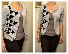 Here is another No Sew way to recycle your old clothes. This project is inexpensive and will only take you 15 minutes to do! For this tutorial we will take old shirts and sweaters and turn them into cardigans! You can never have too many cardigans in my opinion!