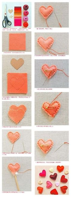 Felt hearts step by step Valentine Day Crafts, Holiday Crafts, Fun Crafts, Crafts For Kids, Arts And Crafts, Valentines, Diy Projects To Try, Sewing Projects, Craft Projects