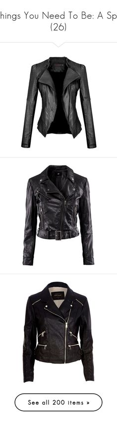 """""""Things You Need To Be: A Spy (26)"""" by o-hugsandkisses-x ❤ liked on Polyvore featuring outerwear, jackets, tops, leather jackets, coats, black, pleather jacket, leatherette jacket, collar jacket and slim jacket"""