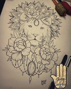 lion tattoo idea, peony flowers, mandala, lace drawing