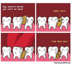 "30 Cute Comics From The Awkward Yeti - Funny memes that ""GET IT"" and want you to too. Get the latest funniest memes and keep up what is going on in the meme-o-sphere. Cute Comics, Funny Comics, Funny Cartoons, Funny Texts, Funny Jokes, Funniest Memes, That's Hilarious, The Awkward Yeti, Dental Humor"