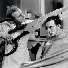 """""""I can never seem to get a really close shave,"""" I commented as the barber lathered my chin. """"I have just the thing,"""" said the barber, taking a small wooden ball from a small drawer. """"Just place this between your cheek and gum. Social Media Roi, Buster Keaton, Barber Shop Decor, Barbershop Design, Close Shave, Silent Film, How To Clean Carpet, Vintage Hairstyles, Salons"""