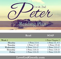 {Week 2 - Reading Plan} 1st & 2nd Peter Bible Study @ LoveGodGreatly.com