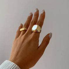 Nails Discover Opal Gold Promise Ring Simple Everyday Chunky Ring unique Ring hochzeit Ring simple everyday Ring Ring Ring fashion verlobung Ring Ring Ring to wear Ring Gold Promise Rings, Gold Diamond Rings, Diamond Wedding Rings, Diamond Bands, Gold Pinky Ring, Silver Ring, Gold Gold, 18k Gold, Gold Rush