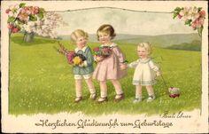 Artiste Lithographie Ebner, Pauli, Glückwunsch Geburtstag, Kinder, Blumenstrauß