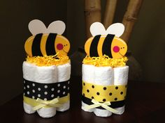 Bumble Bee Mini Diaper Cake for a Baby Shower Centerpiece or New Baby Gift. $8.99, via Etsy.