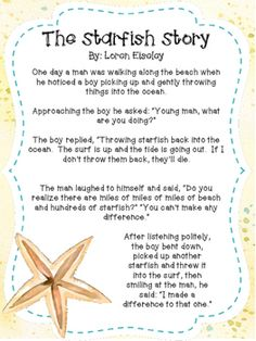 The Starfish Story is a great product for back to school. This poem adapted from Loren Eiseley's work, is a perfect way to spread inspiration and motivation to your colleagues, staff or students in your class. Copies can be made in color or black and whit School Staff, School Counselor, High School, Teacher Morale, Staff Morale, Employee Morale, Starfish Story, Starfish Poem, Teacher Poems