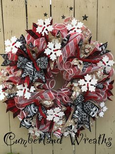 Red and black mesh wreath Christmas Wreath