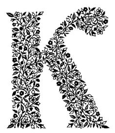Letter 'K'  PRINT 16.5 cm x 14 cm by FolkArtPapercuts on Etsy, $32.00