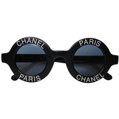 Sunglasses CHANEL ($1,290) ❤ liked on Polyvore featuring accessories, eyewear, sunglasses, white circle sunglasses, logo lens sunglasses, circular glasses, clear lens sunglasses and white lens sunglasses