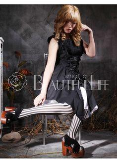 $124.99  Cotton Black Halter Sleeveless Gothic Punk Lolita Dress