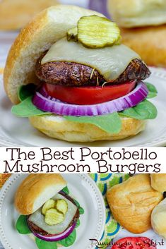 The Best Portobello Mushroom Burger recipe - includes an incredible balsamic based marinade. Healthy, vegetarian or vegan depending on your toppings. Grilled, oven baked, roasted or smoke. Super easy to make! / Running in a Skirt Portobello Mushroom Sandwich, My Burger, Veggie Burgers, Burger Stand, Vegetarian Burgers, Vegetarian Sandwiches, Vegetarian Barbecue, Turkey Burgers, Salads