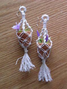 Mini Macrame Plant Hanging Earrings