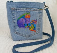 Laurel Burch Cats  hand embroidered on recycled denim back pocket bag original design by SarahYsCottage