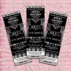 Great Gatsby Style Art Deco Party Invitation - Prom, Graduation, Birthday 21st 30th 40th 50th 60th 70th - Black and Silver - Printable DIY on Etsy, $12.00