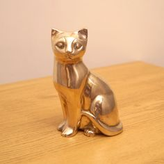 Solid brass Cat sculpture by UKAmobile on Etsy