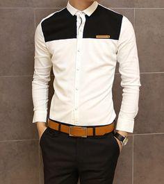 Slimming Shirt Collar Trendy Color Block Splicing Labeling Long Sleeve Men's Cotton Shirt