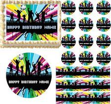 ROCK AND ROLL REVIVAL TOPPER 7.5 ROUND+8 EDIBLE ICED ICING FROSTING PERSONALISED