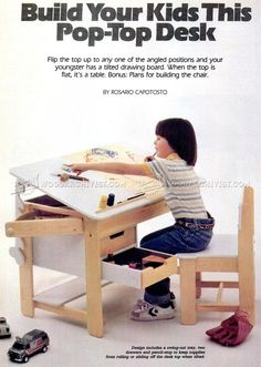 1011 Kids Desk Plans Children S Furniture Plans Rob S Gorgeous Kids Folding Table And Chairs Folding Fine Learn These Best Child . Wood Projects For Kids, Woodworking Projects For Kids, Woodworking Beginner, Project Ideas, Kids Folding Table, Ikea Kids, Woodworking Furniture Plans, Desk Plans, Kids Furniture