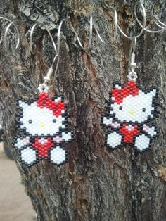 Native American Made Hello Kitty Beaded Earrings Seed Bead Jewelry, Seed Bead Earrings, Beaded Earrings, Beaded Jewelry, Seed Beads, Wire Crafts, Bead Crafts, Dyi Crafts, Jewelry Patterns