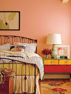 What goes with peach colored walls