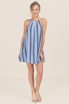 Lia Striped Halter Shift Dress