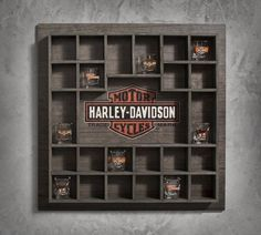 We've started new tradition of buying a Harley Shot Glass when we travel (and can get to a Harley store). So far we have Alb, NM and Las Vegas. Harley Davidson Online Store, Harley Davidson Merchandise, Harley Davidson Bikes, Harley Store, Glass Display Case, Display Cases, Davidson Homes, Shot Glasses Display, Biker Bar