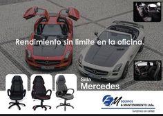 Rendimiento sin limite en la #oficina. Para los amantes y aficionados a los carros, la silla Mercedes tiene una similitud a la cojinería de este automóvil, aplicada y transformada en silla ergonómica, Vive la elegancia, pasión y confort en la empresa o en hogar.