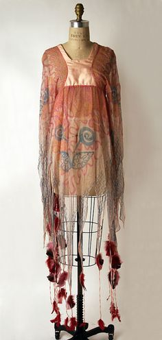 Zandra Rhodes silk and feather caftan, c.1977.