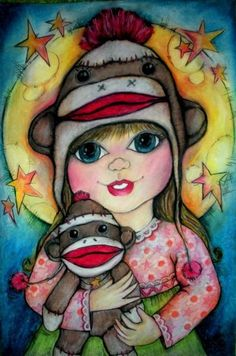 Another pic with yet another sock monkey. Again it's from Jen's Flickr portfolio - isn't she a clever artist? Her pics are always bright and fun. Check out her other stuff and freebies on Pop Art Minis. #art