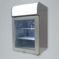 capacity cooler with back-lit LED header display and interior LED lighting. Merchandising Displays, Coolers, Aspen, Glass Door, Header, Countertops, Led, Lighting, Interior