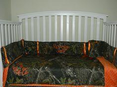 Camo Mossy Oak and Orange minky dot baby by LIZSSTITCHESdotCOM, $199.00