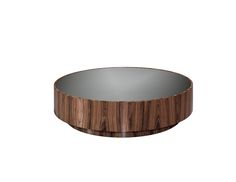Laskasas | Gold Coffee Table | Big round coffee table made in glossy walnut and smoked mirror top. www.laskasas.com