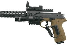 Berreta PX4 Storm Recon air pistol with 16 shot clip, flashlight, green-point sight and compensator. (Whatever that is.) Would this make a good concealed weapon? Click the link to learn more.