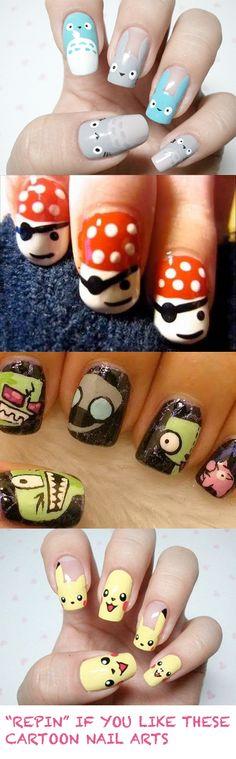 """Cute cartoon nail arts... """"Repin"""" if you like them! :)"""