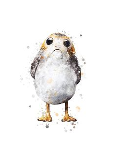 Porg Print Star Wars Watercolor Wall art Painting Porg Poster Art Work The Last Jedi Watercolor Post Star Wars Drawings, Art Drawings, Star Wars Figurines, Star Wars Wall Art, Watercolor Walls, Watercolour, Star Wars Painting, Star Wars Prints, Star Wars Pictures