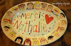 Teacher Platter Customized with Class Faces -- Sweet Teacher Gift! www.hollyslay.etsy.com