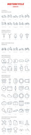 Motorcycle icon set high resolution. thumbnail