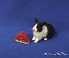 OOAK 1:12 Dollhouse Miniature Rabbit Bunny Dutch Furred Realistic Pet Handmade