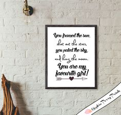 You Are My Favourite Girl!- Wall Decor, Nursery Print, Inspirational Quote, Love, Printable, Digital Art, Download, Home Quote, 8x10, 5x7 by SophiaPerryPrints on Etsy