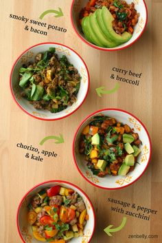Egg-free paleo breakfast bowls! Check your sausage ingredients for Whole30.