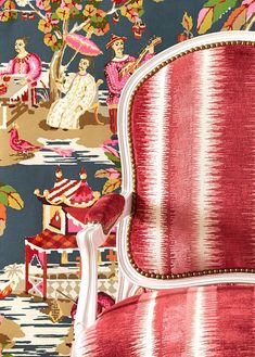 brunschewig and fils Xien chinoiserie and Moro velvet on chair