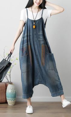 Load image into Gallery viewer, Denim Blue Women Casual Loose Jumpsuit Plus Size White Jumpsuit, Plus Size Romper, Denim Jumpsuit, Jumpsuit Dress, Harem Jeans, Denim Fashion, Fashion Outfits, Fashion Ideas, Fashion Trends