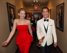 "After winning the category Performance by an actor in a Leading role for his role in ""Dallas Buyers Club"", actor Matthew McConaughey backstage with his Oscar® and Jennifer Lawrence. The Oscars® are presented live on ABC from the Dolby® Theatre in Hollywood, CA Sunday, March 2, 2014. credit: Davis Barber / ©A.M.P.A.S"